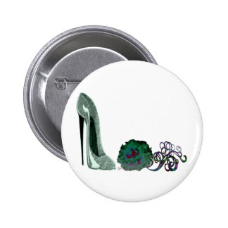 Green Stiletto Shoe and Rose Art Button