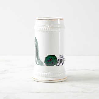 Green Stiletto Shoe and Rose Art Beer Stein