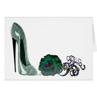 Green Stiletto Shoe and Rose Art Greeting Card