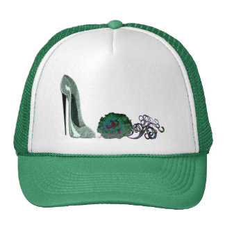 Green Stiletto Shoe and Rose Art Hats
