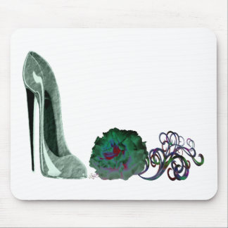 Green Stiletto Shoe and Rose Art Mouse Pad