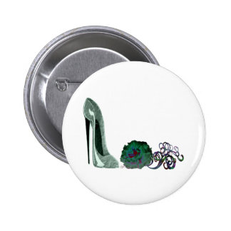 Green Stiletto Shoe and Rose Art Pinback Buttons