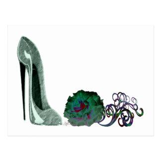 Green Stiletto Shoe and Rose Art Postcard