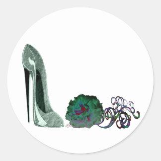 Green stiletto shoe and rose art round sticker
