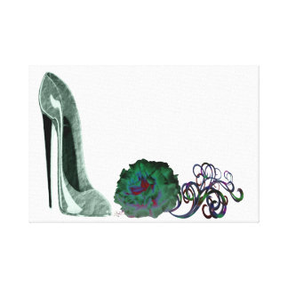 Green Stiletto Shoe and Rose  Canvas Print