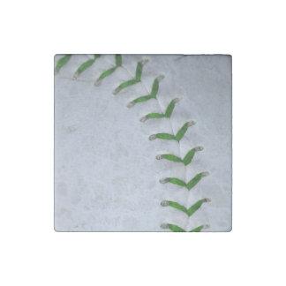 Green Stitches Baseball / Softball Stone Magnet