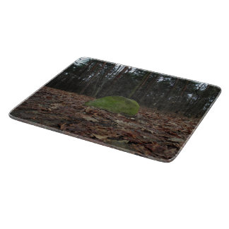 Green stone, artsy photo, polish forest autumn cutting board