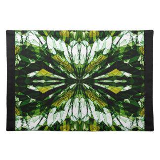 Green Stone Jewel Mosaic Pattern Placemats