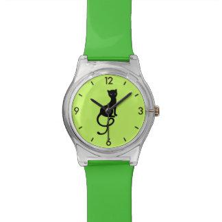 Green Straps Gracious Evil Black Cat Watch