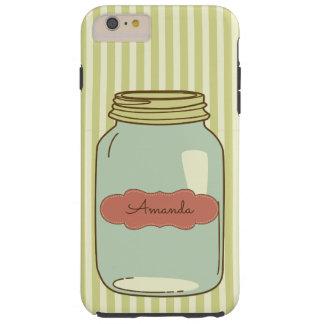 Green Stripe Mason Jar Personalized Phone Case
