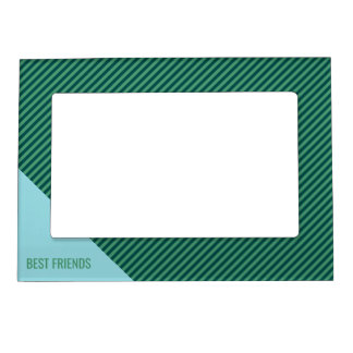 Green Stripe Patterned Custom Text Picture Frame