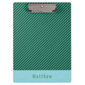 Green Stripe Patterned Customizable Name Clipboard
