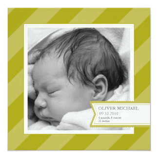 Green Stripe Photo Birth Announcement