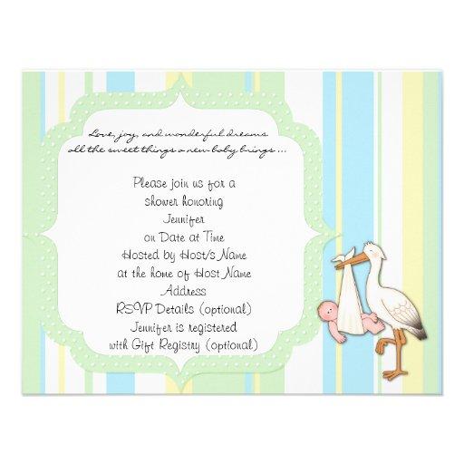 Green Stripe Stork Baby Shower Invitation