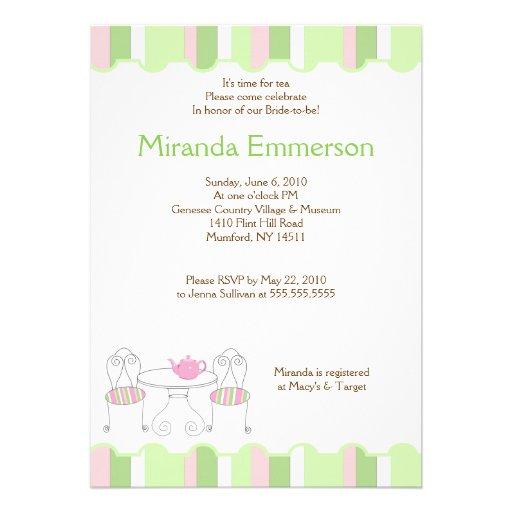 Green Stripe Tea Party Teapot Bridal Shower Personalized Invitation