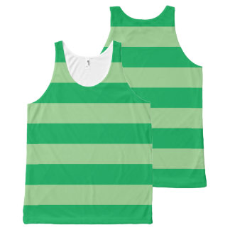 Green Striped All-Over Print Singlet