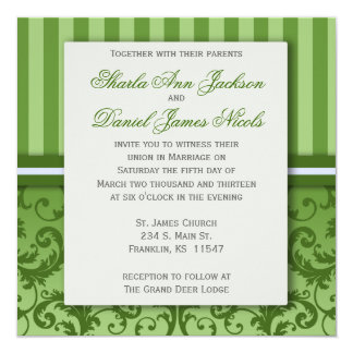 Green Striped Damask Wedding  Invitation