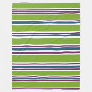 Green Striped Fashion Decor Designer Chic Trendy Fleece Blanket
