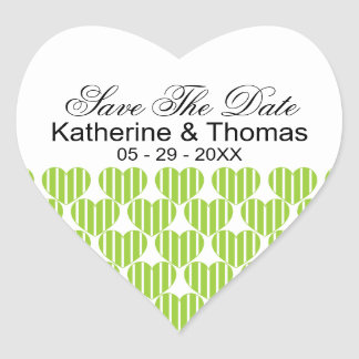 Green Striped Hearts Save The Date Stickers