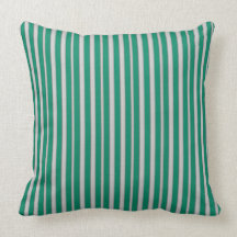 Green Striped Throw Pillow