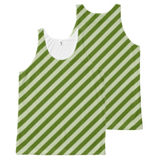 Green Stripes All-Over Print Singlet