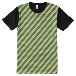 Green Stripes All-Over Print T-Shirt