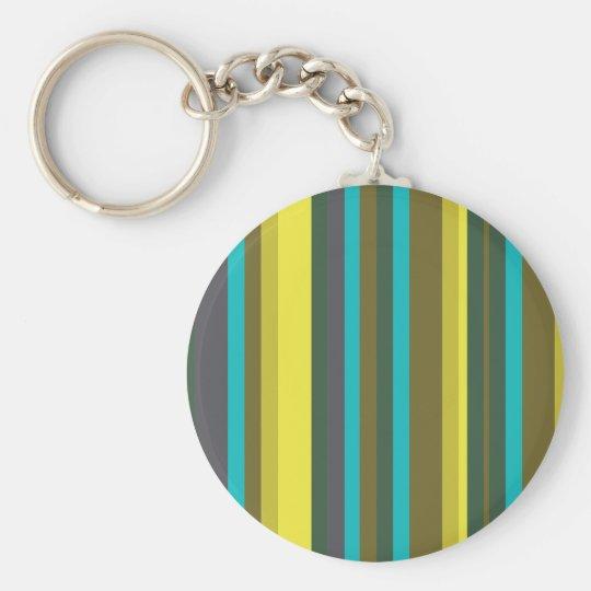 Green_stripes Basic Round Button Key Ring