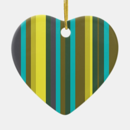 Green_stripes Ceramic Heart Decoration