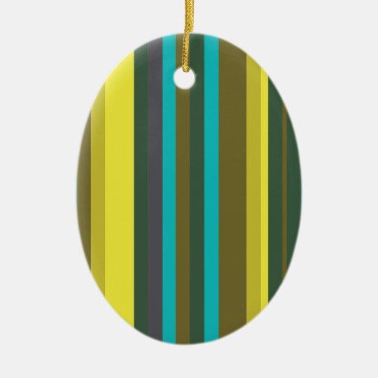 Green_stripes Ceramic Oval Decoration