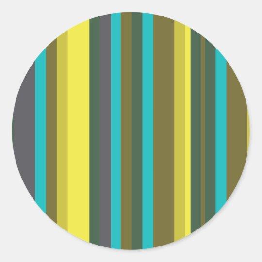 Green_stripes Classic Round Sticker