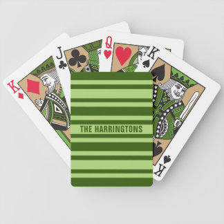 Green Stripes custom name playing cards