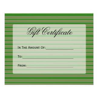 Green Stripes Gift Certificate 11.5 Cm X 14 Cm Flyer