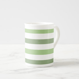 Green Stripes Horizontal Bone China  Mug