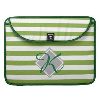 Green Stripes Monogram Sleeve For MacBook Pro