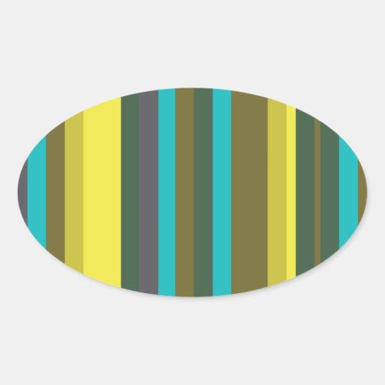 Green_stripes Oval Sticker