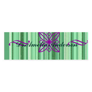 Green stripes pattern,lavender ornaments,trendy Double-Sided mini business cards (Pack of 20)