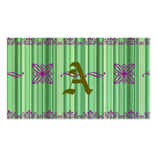 Green stripes pattern,lavender ornaments,trendy business card template