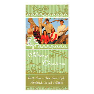 Green Stripes Pine Swirl Holiday Family Pictures Customized Photo Card