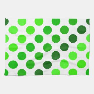 Green Stripes Polka Dot Pattern Tea Towel