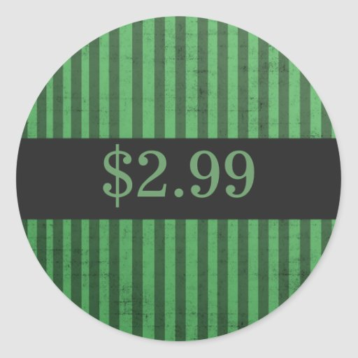 Green Stripes Price Tag Stickers