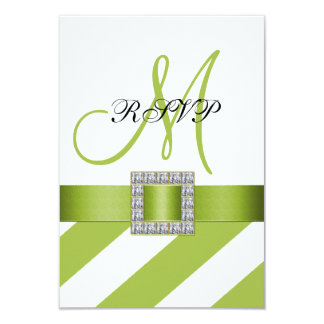 Green Stripes, Ribbon, Initial Wedding RSVP 9 Cm X 13 Cm Invitation Card