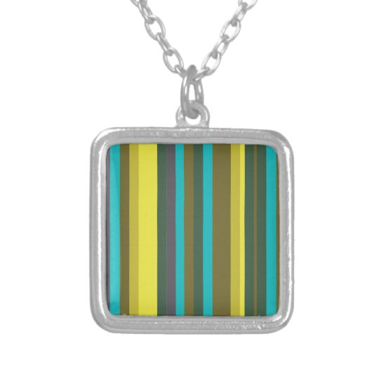 Green_stripes Silver Plated Necklace