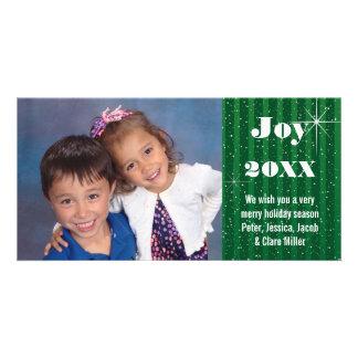 Green Stripes Snow - Christmas Photo Card