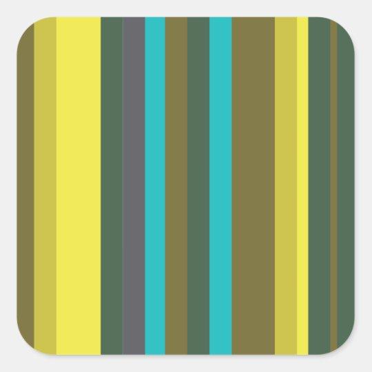 Green_stripes Square Sticker