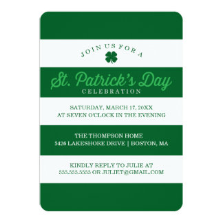 Green Stripes St. Patrick's Day 13 Cm X 18 Cm Invitation Card
