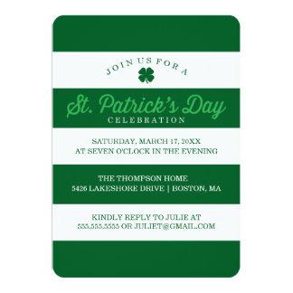 Green Stripes St. Patrick's Day 13 Cm X 18 Cm Invitation Card