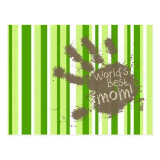 Green Stripes; Striped; Funny Mom Postcards