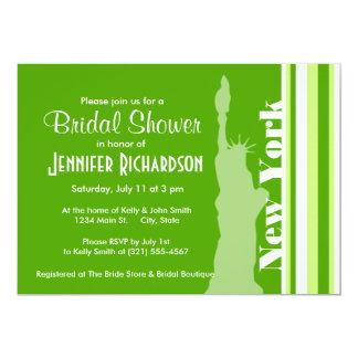 Green Stripes; Striped; New York 13 Cm X 18 Cm Invitation Card