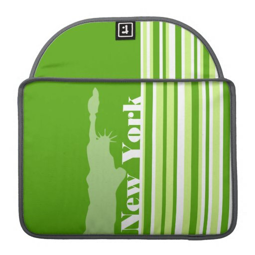 Green Stripes; Striped; New York Sleeves For MacBook Pro