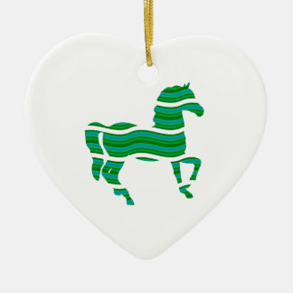 Green stripped Thoroughbred Ceramic Ornament